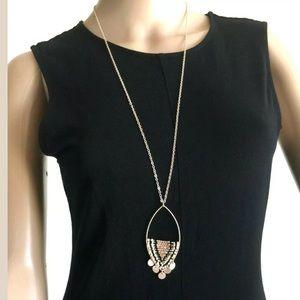 Half Beaded Open Marquis Pendant Necklace